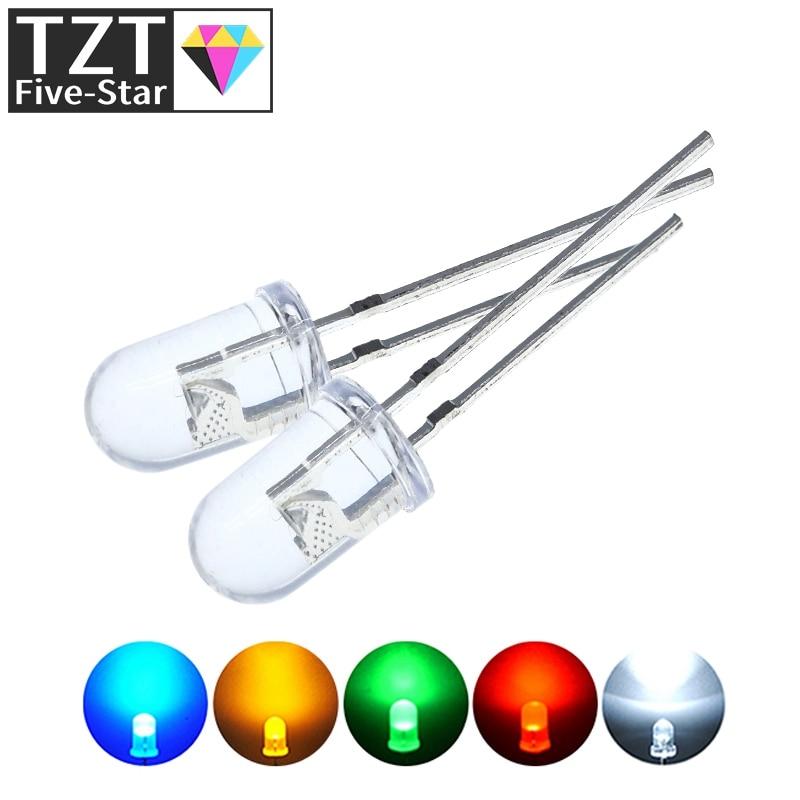 100 шт./лот, прозрачный Круглый 5 мм, супер яркий, прозрачный, зеленый, красный, белый, желтый, синий свет, светодиодные лампы, излучающие диод F5