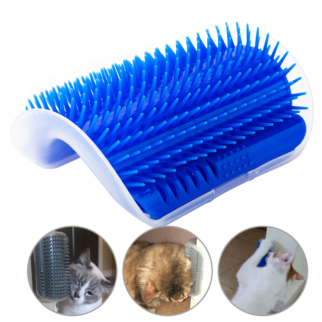 Pet Cat Self Groomer Grooming Tool Hair Removal Brush Comb For Dogs Cats Shedding Trimming Massage Device With Catnip