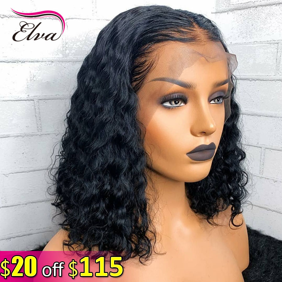 Elva Hair 150% Short Bob Curly 13x6 Lace Front Human Hair Wigs For Black Women Pre Plucked With Baby Hair Brazilian Remy Hair
