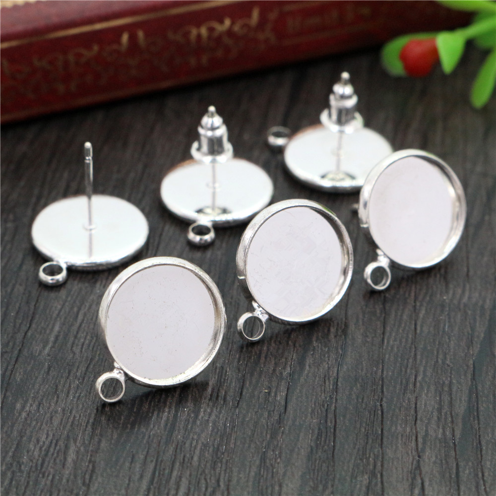 12mm 16pcs Silver Plated Earring Studs,Earrings Blank/Base,Fit 12mm Glass Cabochons,Buttons;Earring Bezels (L4-17)