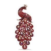 Gorgeous Crystal Rhinestone Peacock Bird Fashion Jewelry Pin Brooch Red