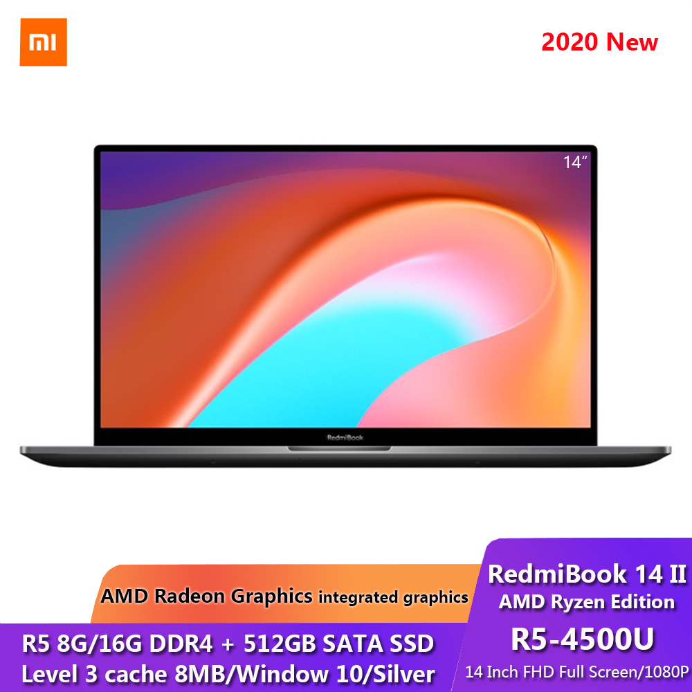 Xiaomi RedmiBook 14 II AMD Ryzen Edition Laptop AMD Ryzen 5 4500U 8 16GB DDR4 512GB SSD 14 Inch FHD Screen Notebook Silver