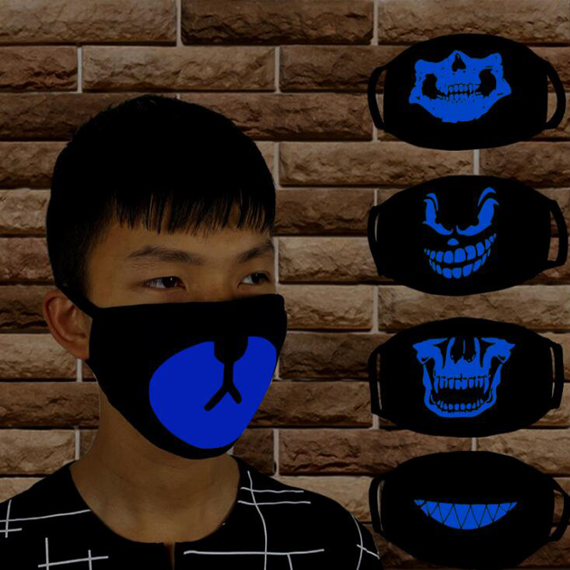 New Blue Glow Luminous Masks For Men And Women Cold-proof Breathable Cotton Personality Masks For Men And Women