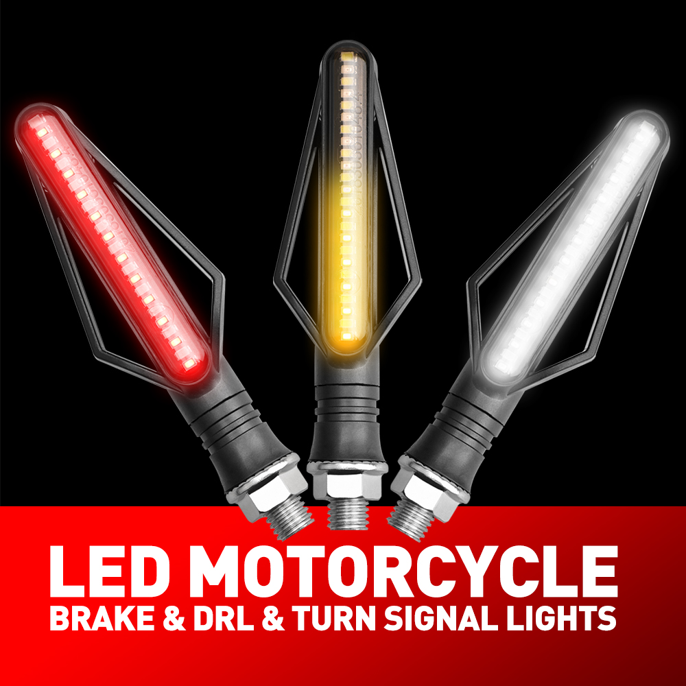 4Pcs 24 LEDs Blinker Stop Tail LED Lights For Motorcycle Flowing Turn Signal DRL Motorbike Indicator For Honda Suzuki Yamaha BMW
