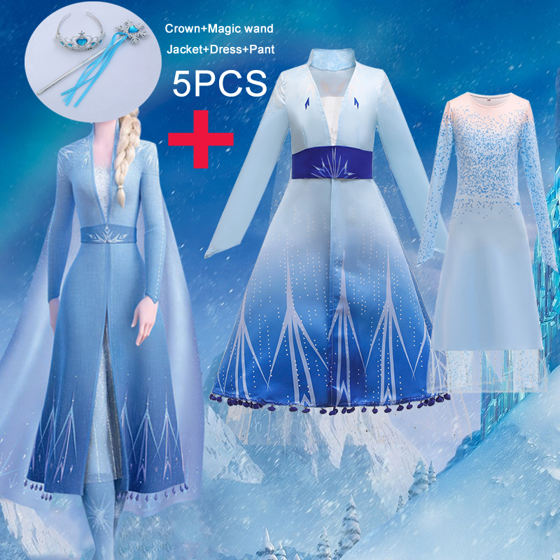 2020 Summer Snow Queen Frozen 2 Dress Girl Anna Elsa Kids Dresses For Girls Children Lace Birthday Party Princess Cosplay Dress