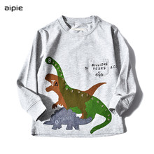 Promotion Kids T-shirts Applique dinosaur pattern Long sleeves Children boys t-shirts clothing cotton 100%