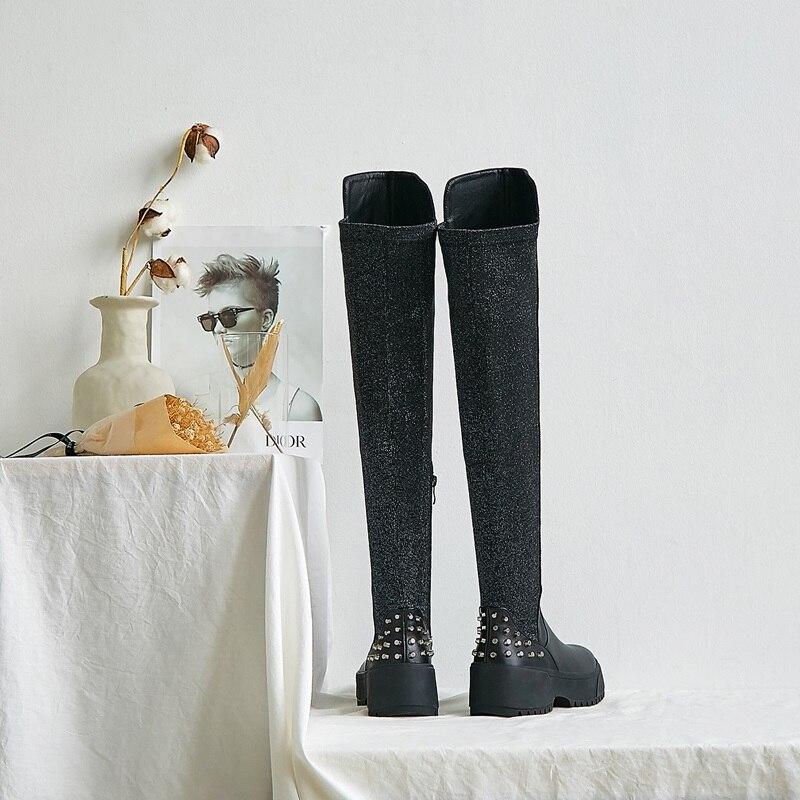ZVQ winter nieuwe mode overknee laarzen buiten comfortabele hoge hakken platform ronde neus klinknagel zip vrouwen schoenen drop shipping - 4