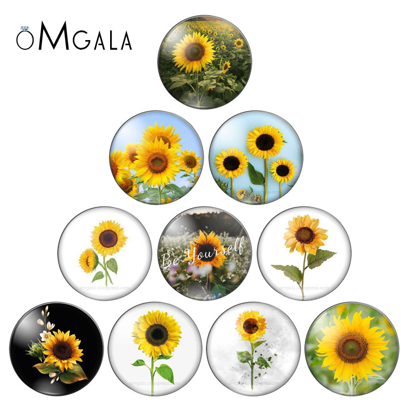 Love Sunflower Sports Round Photo Glass Cabochon Demo Flat Back Making Findings 10mm/12mm/18mm/20mm/25mm/30mm