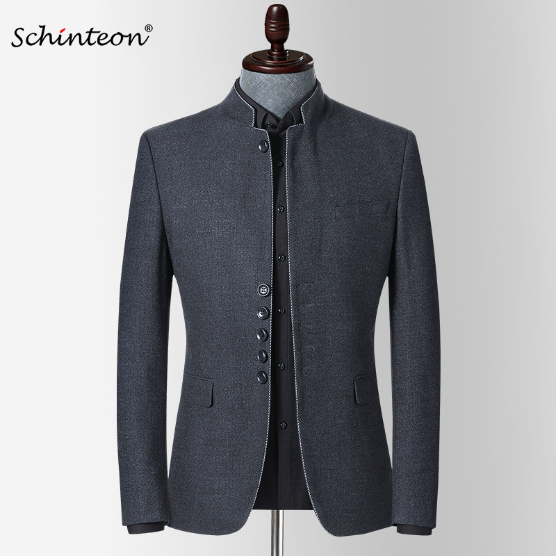 Schinteon Men New Spring Blazer Jacket Stand Collar Slim Fit Outwear Smart Casual High Quality Chinese Tunic Suit 1