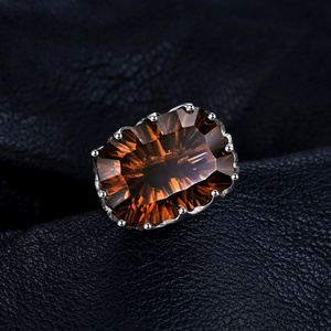 Image 2 - JewelPalace 23ct Huge Concave Genuine Smoky Quartz Ring 925 Sterling Silver Rings for Women Silver 925 Jewelry Gemstones Jewelry