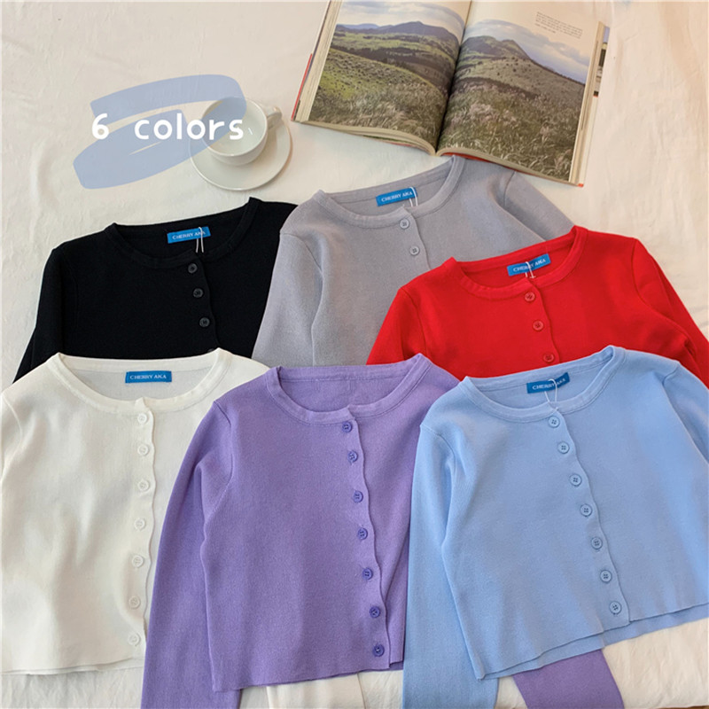6 Colors 2020 Spring Summer Solid Color Thin Short Design Knitted Sweater Cardigan Womens Basic Long Sleeve Tops Womens (C1260)