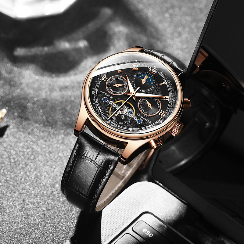 Hffe83aefc41b41acb0bd57a0c6cced04H Skeleton Tourbillon Mechanical Watch Men Automatic Classic Rose Gold Leather Mechanical Wrist Watches Reloj Hombre 2018 Luxury