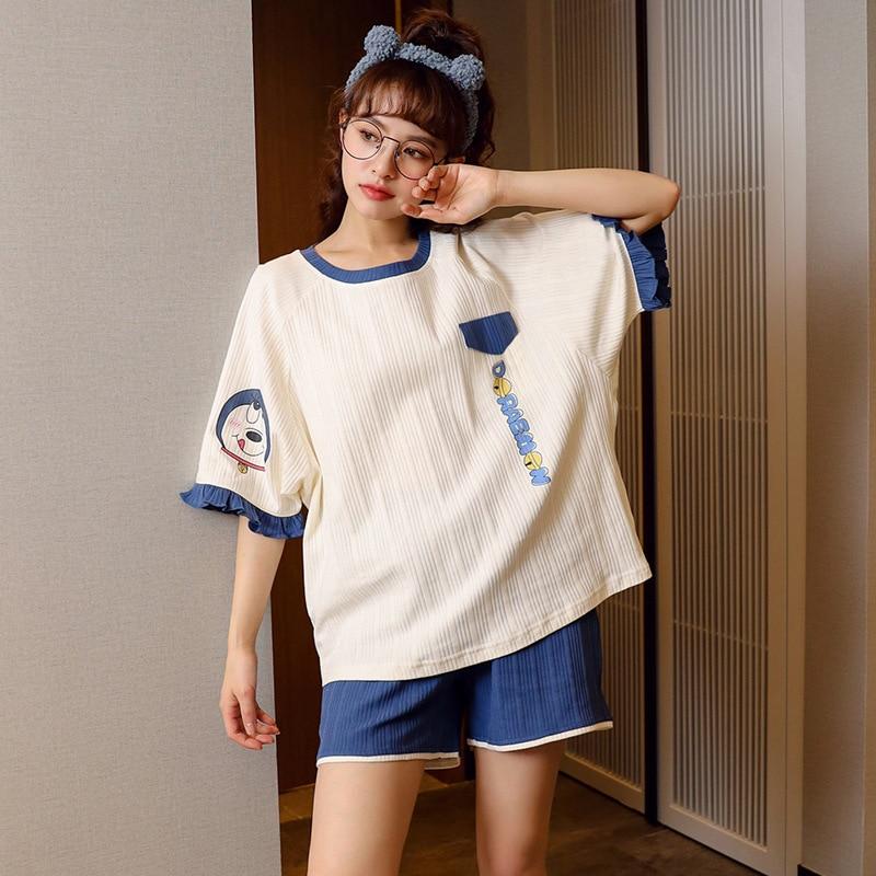 Women's pajamas summer ladies knitted striped cotton pajamas Korean casual cute short-sleeved shorts two-piece suit home pajamas