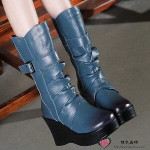 Image 5 - GKTINOO Botas de piel auténtica para mujer, zapatos cálidos de media caña, informales, con cuña, botas de moto para mujer