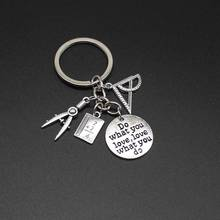 1 piece of math jewellery key ring, triangle ruler, compass pendant, vintage metal keychain, gift from students and teachers