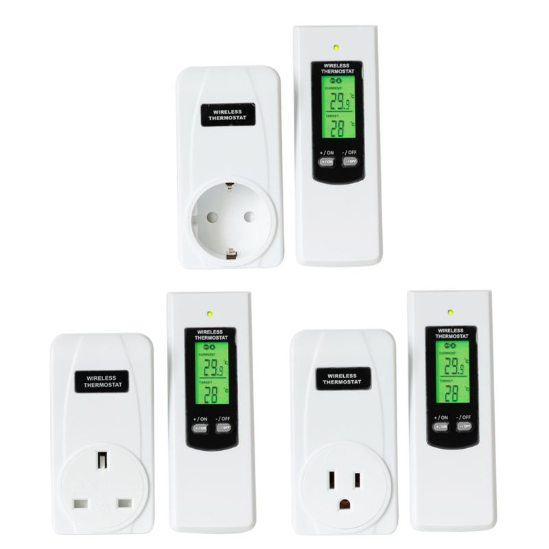 Remote Control Wireless Plug In Thermostat Hydroponic RF Heating & Cooling Temperature Controller EU/UK/US Plug 94PC