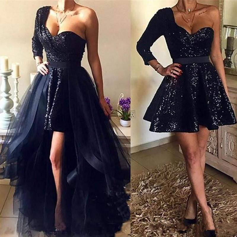 Eightree Spakly Short Prom Dresses Navy Blue Sequins Formal Prom Dress Detachable High Low Sexy Shoulder Long Sleeve Prom Gown