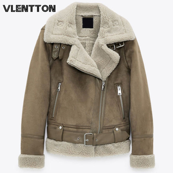 Winter New Women Thick Warm Vintage Suede Lambswool Biker Jackets Coat Chic Sashes Casual Loose Faux Leather Outwear Tops Female