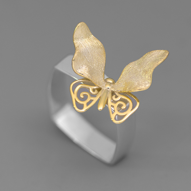 INATURE 925 Sterling Silver Luxury Butterfly Rings for Women Fashion Jewelry Finger Ring 4