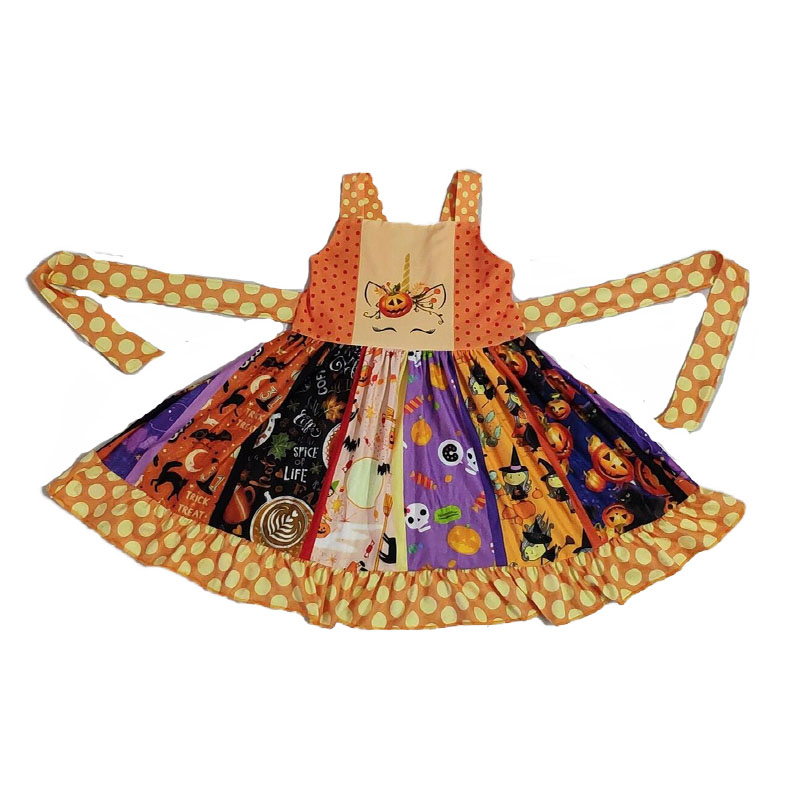XMZ <font><b>Summer</b></font> Baby <font><b>Girls</b></font> <font><b>Dresses</b></font> Milk Silk Halloween Pumpkin Princess <font><b>12</b></font> <font><b>Years</b></font> <font><b>Old</b></font> <font><b>Girls</b></font> Wedding <font><b>Dresses</b></font> vestido fiesta image