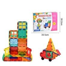Kyara 60PCS Magnetic Building Blocks Transparent Big Size  Construction Set Magnet Educational Toys for Children Gifts