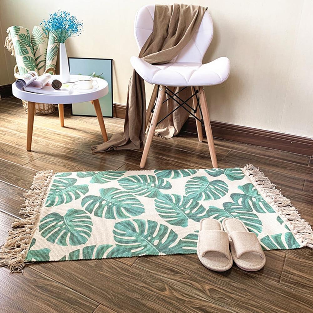 Bohemian Hand Woven Cotton Linen Carpet Tassel Bedside Rug Geometric Floor Mat Print Area Rug For Living Room Home Decor