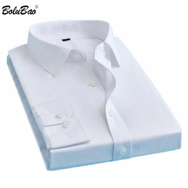 BOLUBAO מותג גברים מקרית חולצות אופנה מוצק צבע חולצה ארוך שרוול Slim Fit עסקי Mens בגדי זכר טוקסידו חולצה