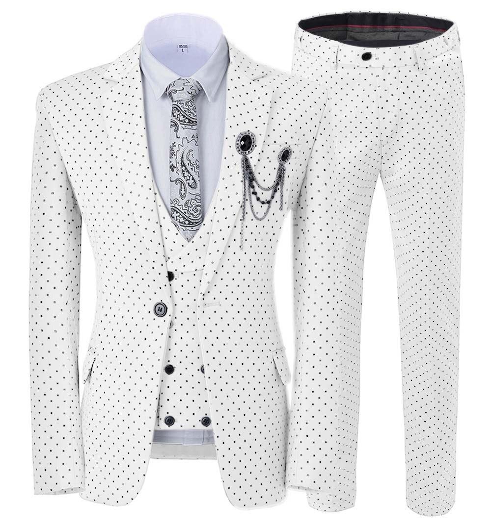 Mens suits Wave point Three Pieces Men Dress Suits Casual Commuter office business suits For Wedding Blazer Vest Pants