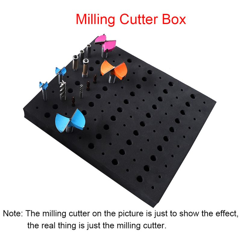 110 Holes Router Bit Tray Storage Holder For 1/4'' 1/2'' Shank Milling Cutters M7DA