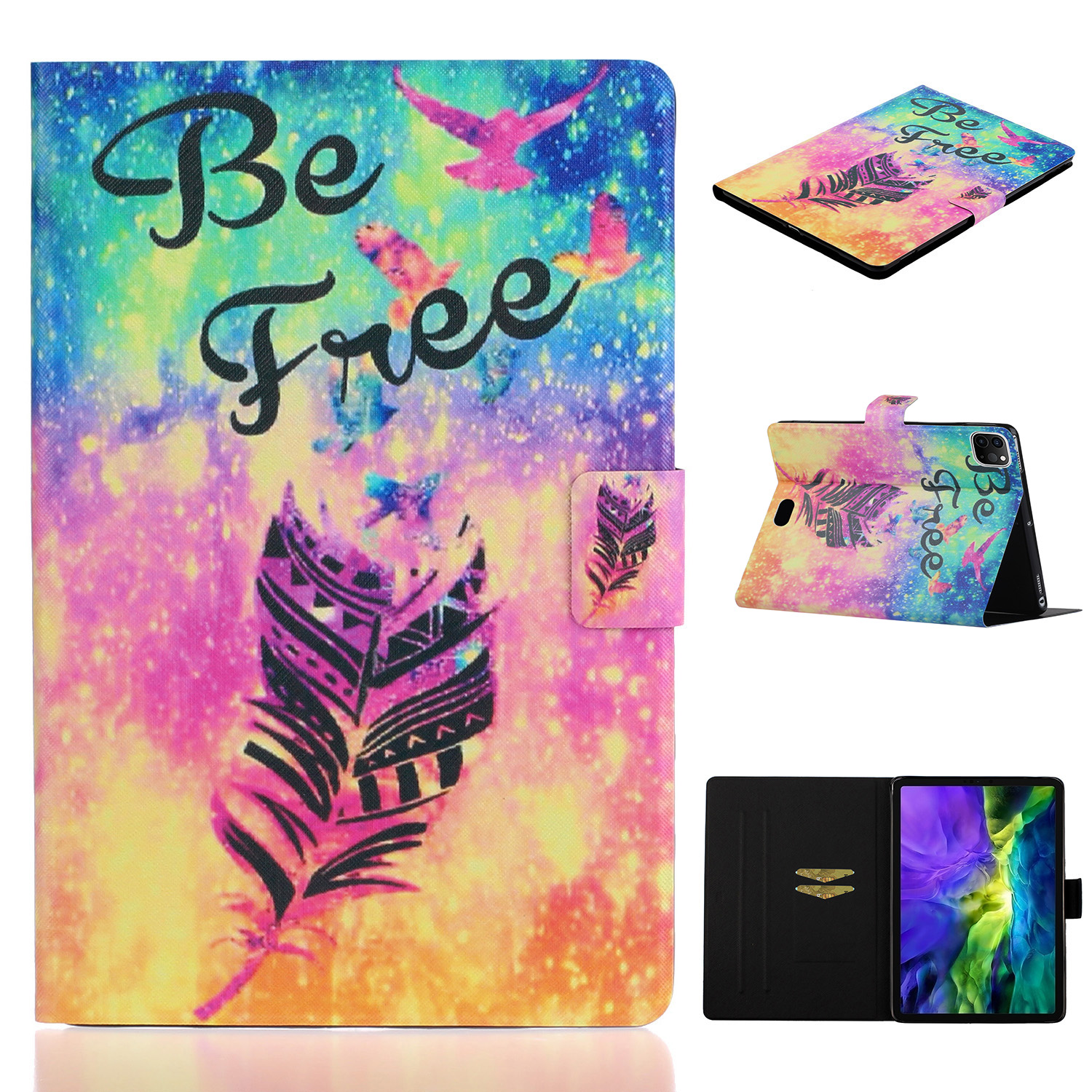 5 Black For iPad Pro 11 inch 2020 Case Cheap PU Leather Painted Smart Folio Case for iPad