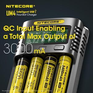 Image 4 - Nitecore um4 usb carregador de quatro entalhes qc circuitos inteligentes seguro global li ion aa 18650 14500 16340 26650 carregador