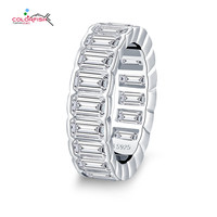 COLORFSIH 925 Sterling Silver 3mm x 5mm Emerald Cut 5 Carat Eternity Band Rings For Women Luxury Wedding Engagement Jewelry Gift