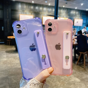 Image 4 - Soft Wrist Strap Phone Case For iPhone 11 12 Pro Max X XR Xs Max 7 8 Plus SE 2020 Mini Kickstand Transparent Bumper Back Cover