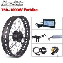 Fat Bike rueda eléctrica de bicicleta, Kit de bicicleta de nieve de 52V y 1000W, kit de conversión de bicicleta eléctrica, kit de rueda de bicicleta eléctrica de 750W, Motor de buje MXUS XF15Fat