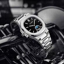 PLADEN Mannen Horloge Luxe Merk Chronograaf Zwarte Wijzerplaat 316L Rvs Band Quartz Klok Fashion Casual Ulysse Horloge Voor Mannen