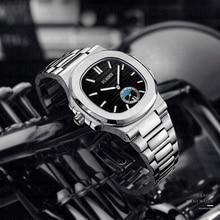 PLADEN montre de luxe pour hommes, chronographe, cadran noir, bracelet en acier inoxydable 316L, horloge à Quartz, mode Ulysse, collection décontracté