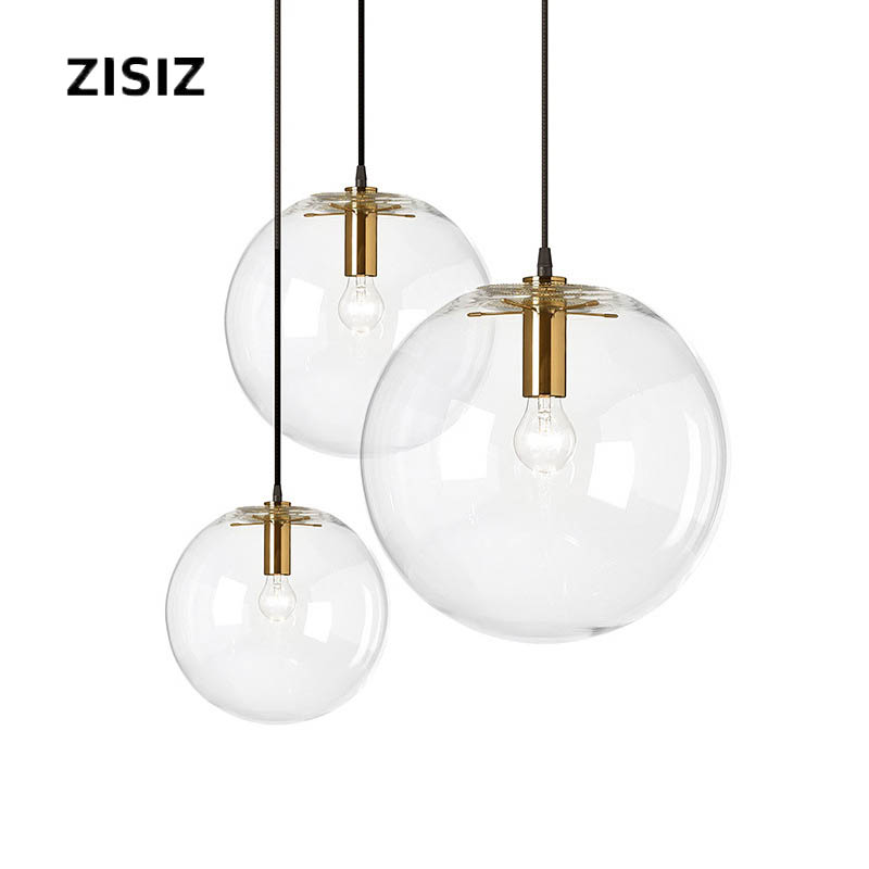 Modern Single Head Glass Chandelier Dining Room Living Room Interior Lamp E27 Energy-Saving Transparent Bubble Glass Ball Lamp
