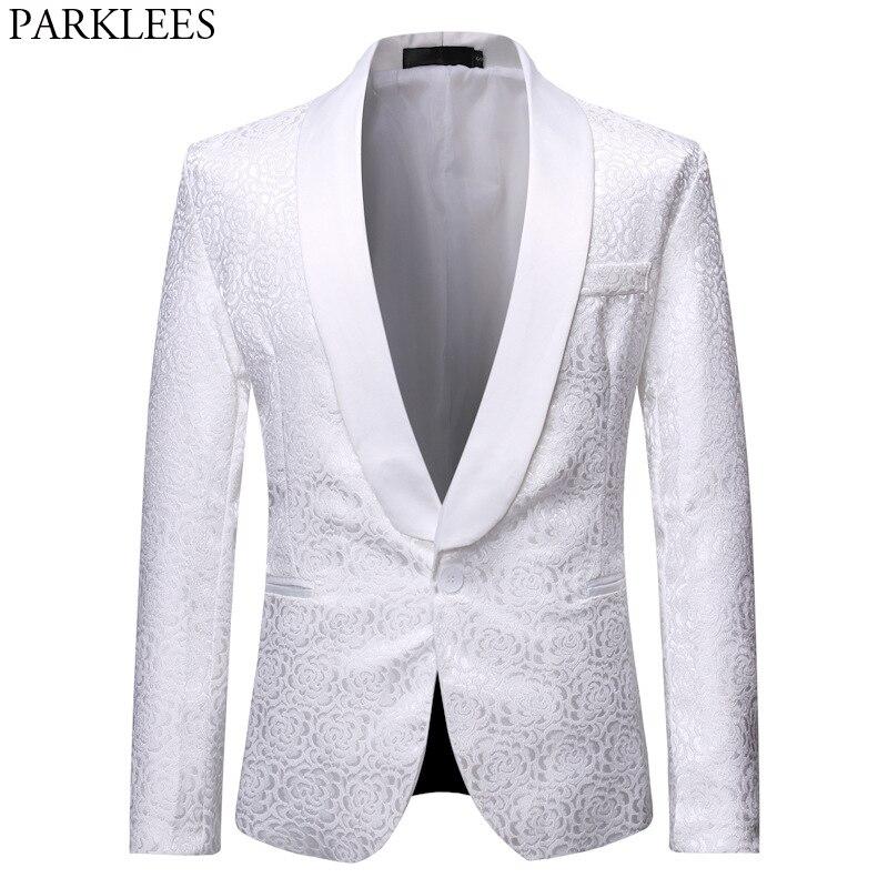 White Rose Jacquard Tuxedo Blazers Men One Button Shawl Lapel Slim Fit Suit Jacket Mens Party Dinner Wedding Groom Costume Homme