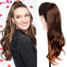Ponytail Hair-Extension Wrap Around Fake-Hair Wavy Clip-In Amir Heat-Resistant
