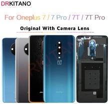 Orijinal arka cam Oneplus 7 T Pro arka pil kapağı bir artı 7 T arka konut kapı kasa Oneplus 7 7 T pil kapağı + kamera Lens