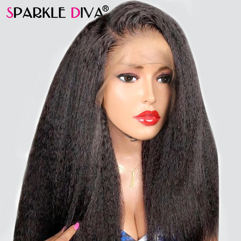 Kinky Straight Lace Front Wig 13x4 Lace Front Human Hair Wigs For Black Women 150% Den Lace Frontal Wig With Baby Hair Remy Hair