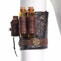 Gothic Brown PU Leather Gold Gear Wheel Floral Carving Arm band Wristband Woman Corset Costume Accessories