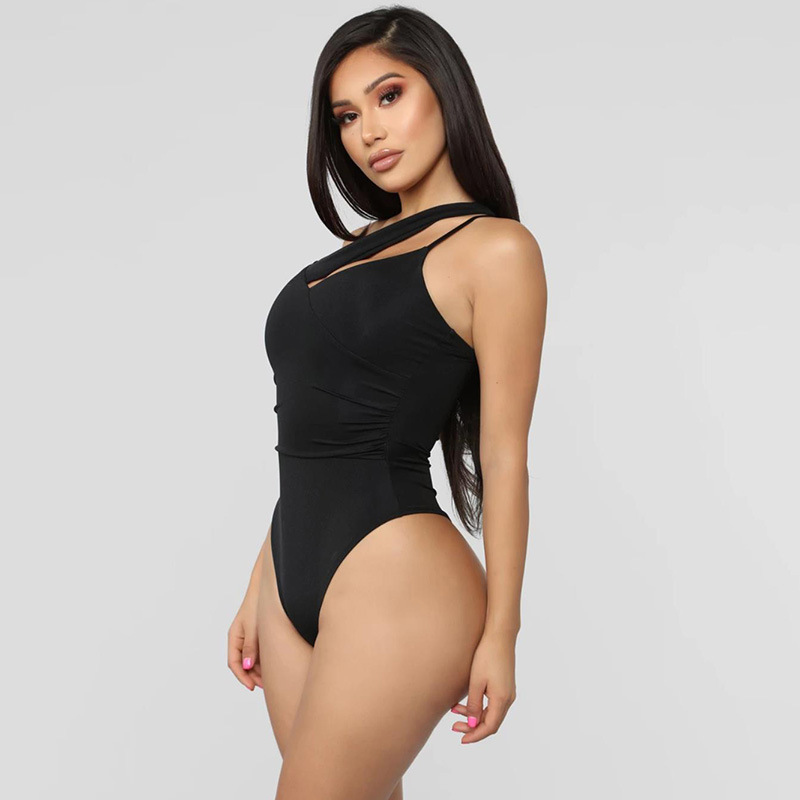 FORERUN Sexy Bodysuit One Shoulder Hollow Backless Asymmetrical Bodysuits Autumn Winter Black Jumpsuit Sleeveless Body Mujer