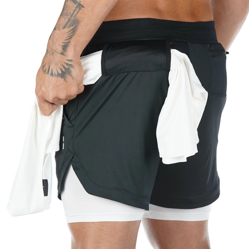 New 2 In 1 Men Shorts Fitness Gym Shorts Dry Fit Summer Shorts Men Sportwear Solid Camo Compression Under Layer Short Pants Male