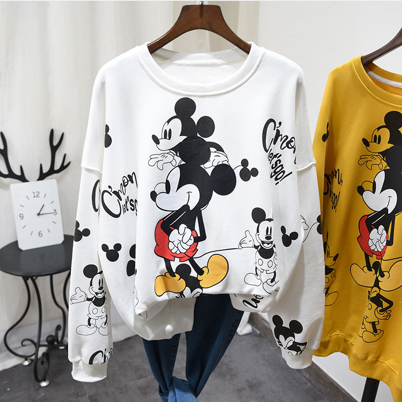 New Pullover Shirt Women Korean Loose Large Size Cartoon Print Mickey Sweatshirt Round Collar Student Girls Oversize Hoodies