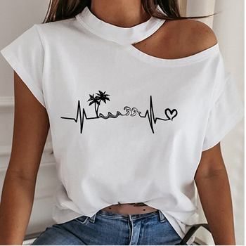 Sexy Off Shoulder Print Blouse Women Shirts 2020 Summer Short Sleeve Tops Casual Loose Halter Backle