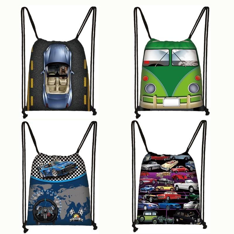 Cool Car / Van Print Drawstring Bag Women Men Travel Bags Teenager Fashion Backpack Ladies Storage Bags Kids Bookbag