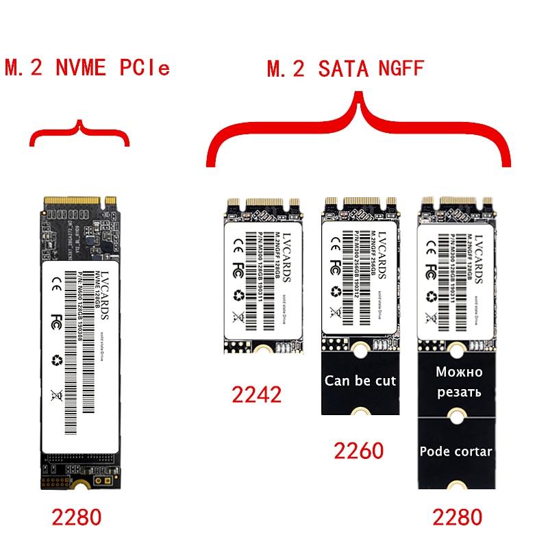 LVcards M.2 SATA NGFF Ssd 128GB 256GB 512GB 1TB / M2 NVME PCIe 2280 Solid State Disk Internal Hard Drive Hdd 128/256/512G 1TB H3