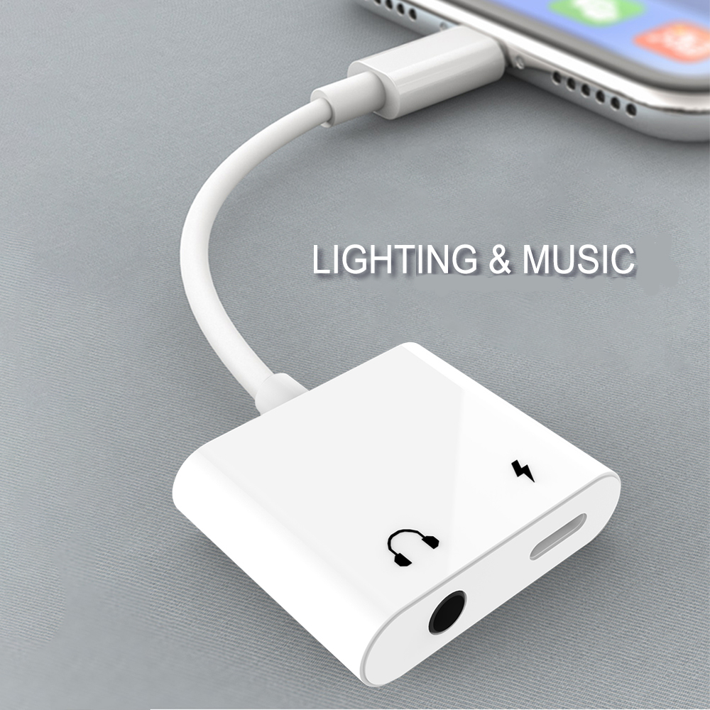 Audio Charge Adapter 2 In 1 For Lightning To 3.5mm Headphone Aux Jack Converter For IPhone X/Xs/8/8P/7/7P