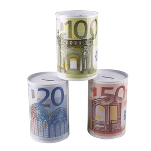 Creative Euro Dollar Metal Cylinder Piggy Bank Saving Money Box Home Decoration(China)